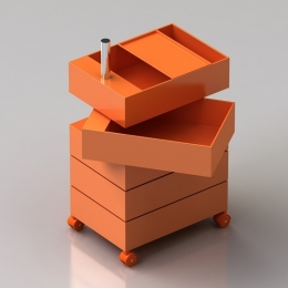 360° Drawer units on wheels Orange 32x47x72 / 5 drawers / drawer h.9.8cm / orange glossy