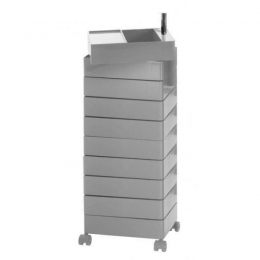 360° Drawer units on wheels Beige 32x47x127 / 10 drawers / drawer h.9.8cm / beige glossy
