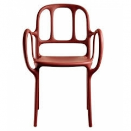 Mila Stacking Chair with arms 55x54 h.84.5 / Red